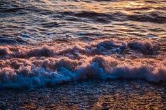 Vågor med solnedgångfärger Royaltyfri Fotografi