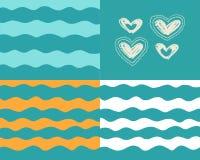 Vågor och hjärtor på turkosbakgrund vektor illustrationer