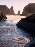 Vågor på den sandiga stranden med vaggar buntar Royaltyfri Fotografi