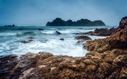 Vågor på en strand i Nya Zeeland Arkivbilder