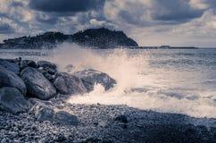 Vågor på havet, stormigt hav Royaltyfri Foto