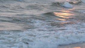 Vågor på kusten av en strandsolnedgång på stranden slåss stock video
