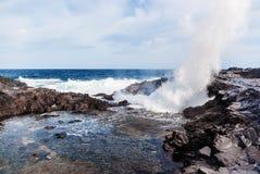 Vågor som bryter på den steniga kusten av kanariefågelöarna Turism lopp, semester, havskryssning arkivfoto