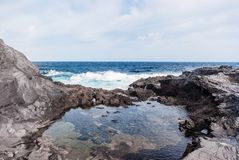 Vågor som bryter på den steniga kusten av kanariefågelöarna Turism lopp, semester, havskryssning royaltyfri bild
