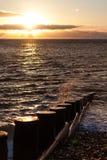 Vågor som bryter på gryning Fotografering för Bildbyråer