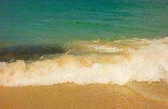 Vågor som rullar på en strand i det karibiskt Fotografering för Bildbyråer