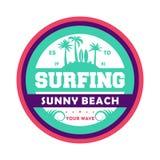 Vågor som surfar den tappning isolerade etiketten Arkivfoton