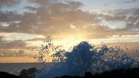 Vågor stiger i luften på härligt solnedgångljus Den stora vågen kraschar på vaggar och att bespruta Nära övre sikt av en sprej in lager videofilmer