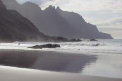 Vågor tvättar stranden bredvid bergen Royaltyfri Fotografi