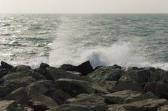 Vågor vaggar och vatten fotografering för bildbyråer