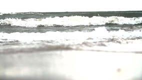 Vågorna som svaller på den sandiga kusten Extremt drakelogi i ultrarapid stock video