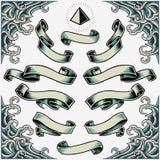 Vågram, band och pyramid royaltyfri illustrationer