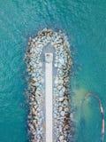 Vågsäkerhetsbrytare med vågor som rullar in från havet Royaltyfria Bilder
