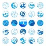 Vågsymbolsuppsättning Vattensymbol- eller logodesign Hav hav, strand Arkivfoton
