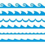 Våguppsättning seamless waves för modell Garneringmall av havs- och havvågor också vektor för coreldrawillustration royaltyfri illustrationer