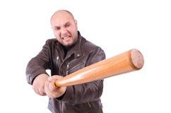 Våldsam man med baseballslagträet Arkivfoto