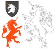 Våldsamma Unicorn Illustration Arkivbilder