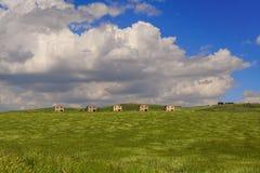 Vår Bergigt landskap med omogna veteåkrar, dominerat av moln italy Arkivfoton