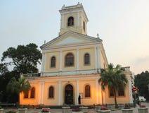 Vår dam av Carmel Church på solnedgången, Macao royaltyfri bild