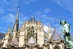 Vår dam av den Amiens domkyrkan i Frankrike Arkivfoto
