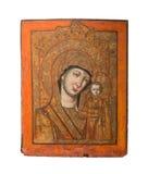 Vår dam av Kazan typ av den heliga symbolen och att föreställa den jungfruliga Maryen och Jesus, 19th cent Arkivfoto