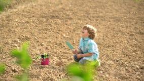 Vår eller sommartid för ungar på ranchen Blomma livstid f?r kattunge f?r kattlandsko Amerikanskt lantg?rdliv Ung bonde Liten pojk arkivfilmer