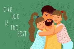 Vår farsa är den bästa gulliga plana tecknad filmfadern och två döttrar med text Horisontalvektor stock illustrationer