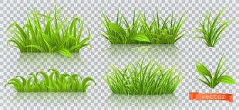 Vår grönt gräs symbolsuppsättning för vektor 3d vektor illustrationer