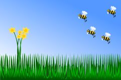Vår guling blommar med bin stock illustrationer