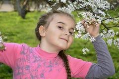 Vår i flickan för trädgård som lite rymmer en körsbärsröd filial. Royaltyfri Foto