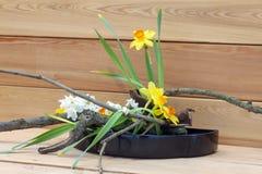 Vår Ikebana, japansk blom- ordning royaltyfria bilder