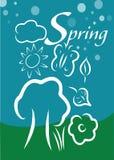 Vår- och naturbeståndsdelbakgrund Stock Illustrationer