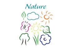 Vår- och naturfärgsymboler Stock Illustrationer