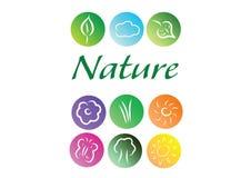 Vår- och natursymbolsuppsättning Stock Illustrationer