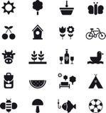 Vår- och picknicksymboler royaltyfri illustrationer