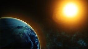 Vår planetjord, solskenen på planeten jordar en kontakt som sett från utrymme royaltyfri illustrationer