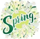 Vår - säsongsbetonad vektor med gröna sidor, lövverk och vita vårblommor vektor illustrationer