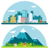 Vår Urban och bygdlandskapstad royaltyfri illustrationer