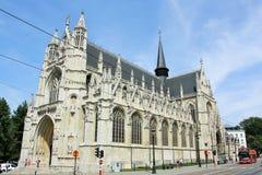 Vår välsignade dam av den Sablon kyrkan i Bryssel arkivbild