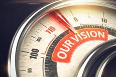 Vår vision - text på begreppsmässig skala med den röda visaren 3d Royaltyfri Foto