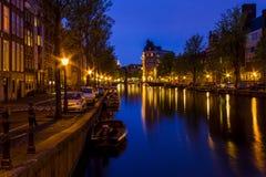 Vårafton i Amsterdam Arkivfoton