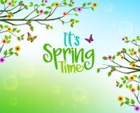 Vårbakgrund av träd och färgrika blomma- och växasidor royaltyfri illustrationer