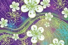 Vårbakgrund. Blommor och linjer på abstraen Royaltyfri Illustrationer