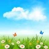Vårbakgrund med blommor i gräset stock illustrationer