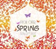 Vårbakgrund med färgrika fjärilar Sale av vektor illustrationer