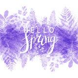 Vårbakgrund med purpurfärgade sidor stock illustrationer
