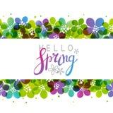 Vårbakgrund med vibrerande blommor stock illustrationer
