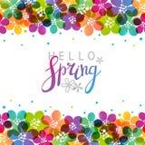 Vårbakgrund med vibrerande blommor vektor illustrationer