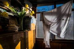 Vårbalkong torka för kläder royaltyfri bild