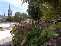 Vårblom i den mysiga Kladno staden royaltyfri fotografi
